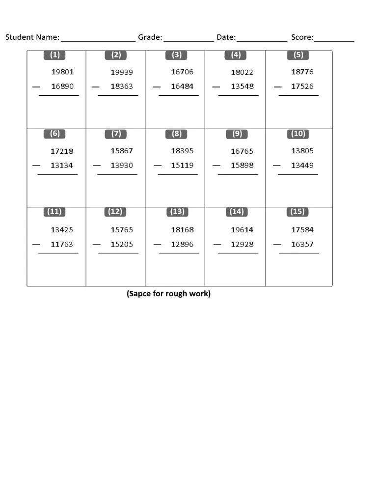 Grade 6 Subtractions Worksheet  [ 1024 x 768 Pixel ]
