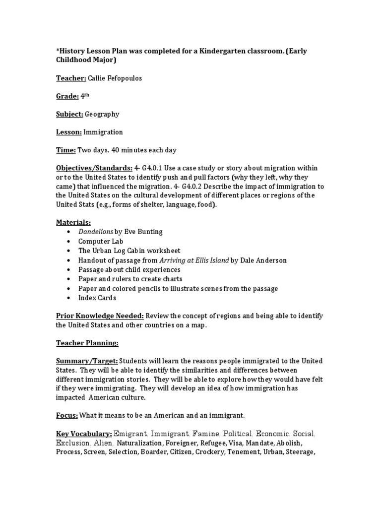 medium resolution of Geography Lesson Plan   Immigration   Lesson Plan