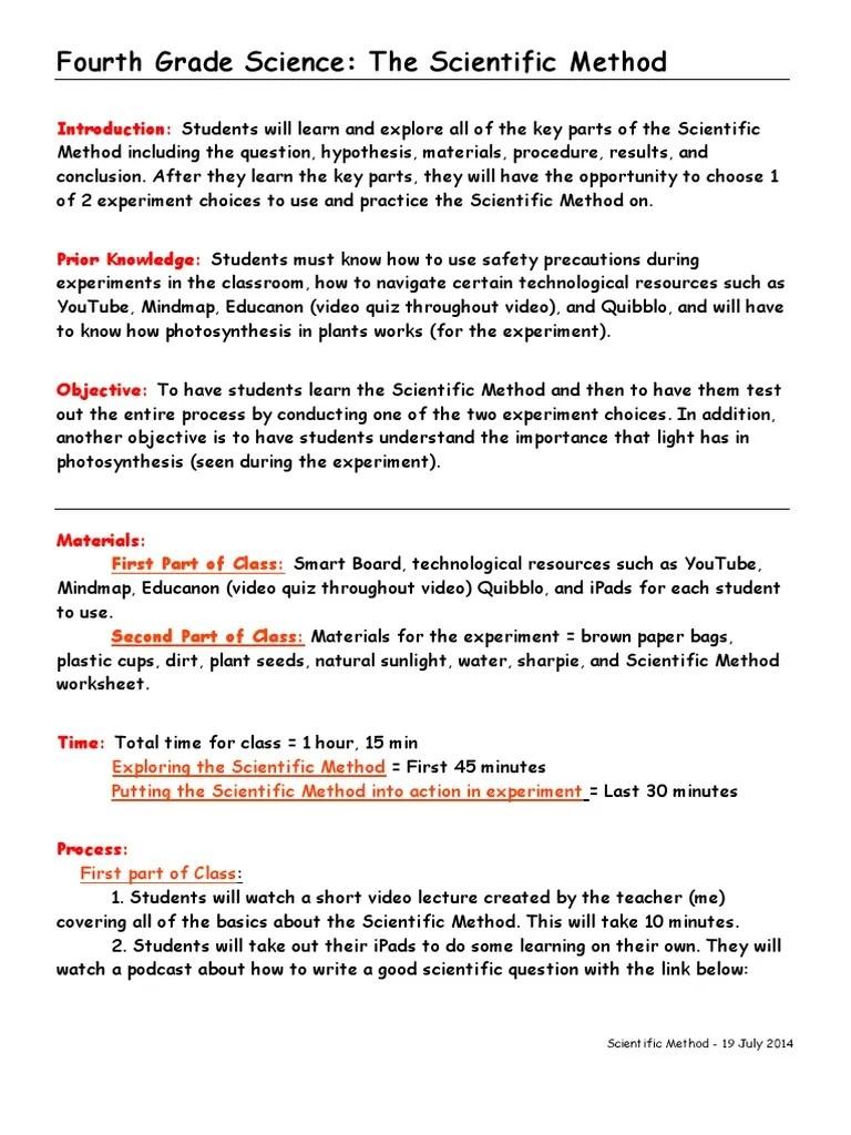 medium resolution of haley placke - 4th grade science lesson plan   Scientific Method    Experiment
