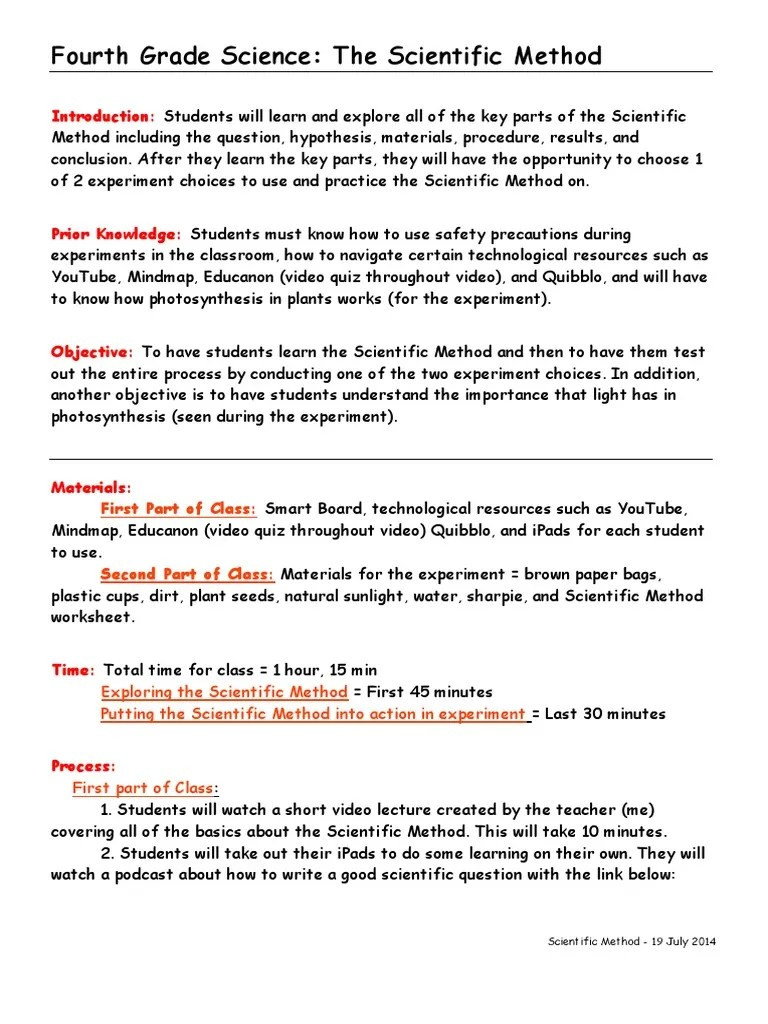 hight resolution of haley placke - 4th grade science lesson plan   Scientific Method    Experiment