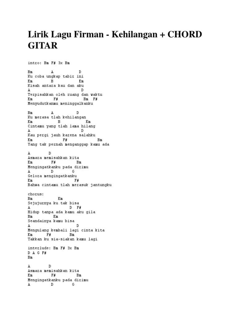 Chord Gitar dan Lirik Lagu Kehilangan Firman, Kumerasa