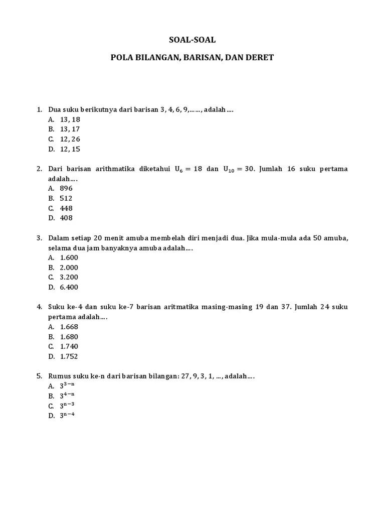 Contoh Soal Pola Bilangan Beserta Jawabannya : contoh, bilangan, beserta, jawabannya, Contoh, Bilangan, Kelas, Kurikulum, Soal-Soal