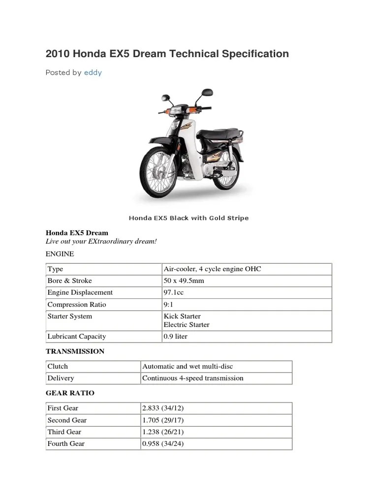 medium resolution of 2010 honda ex5 dream technical specification honda ex5 dream wiring diagram