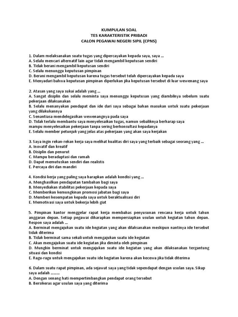 Contoh Soal Tkp Pdf : contoh, Kumpulan, Karakteristik, Pribadi, (tkp)