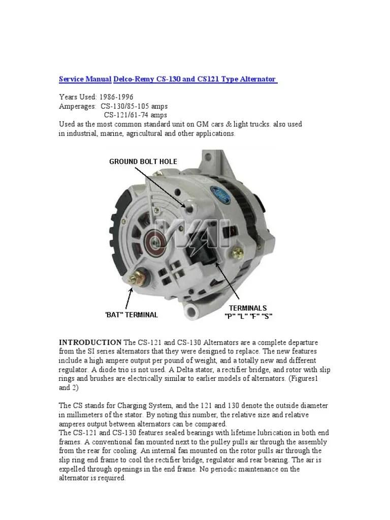 medium resolution of  service manual delco remy cs 130 voltage force on alternator wiring diagram