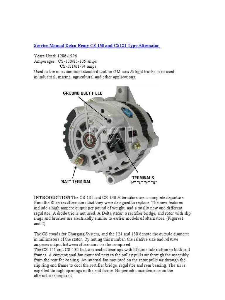 hight resolution of  service manual delco remy cs 130 voltage force on alternator wiring diagram