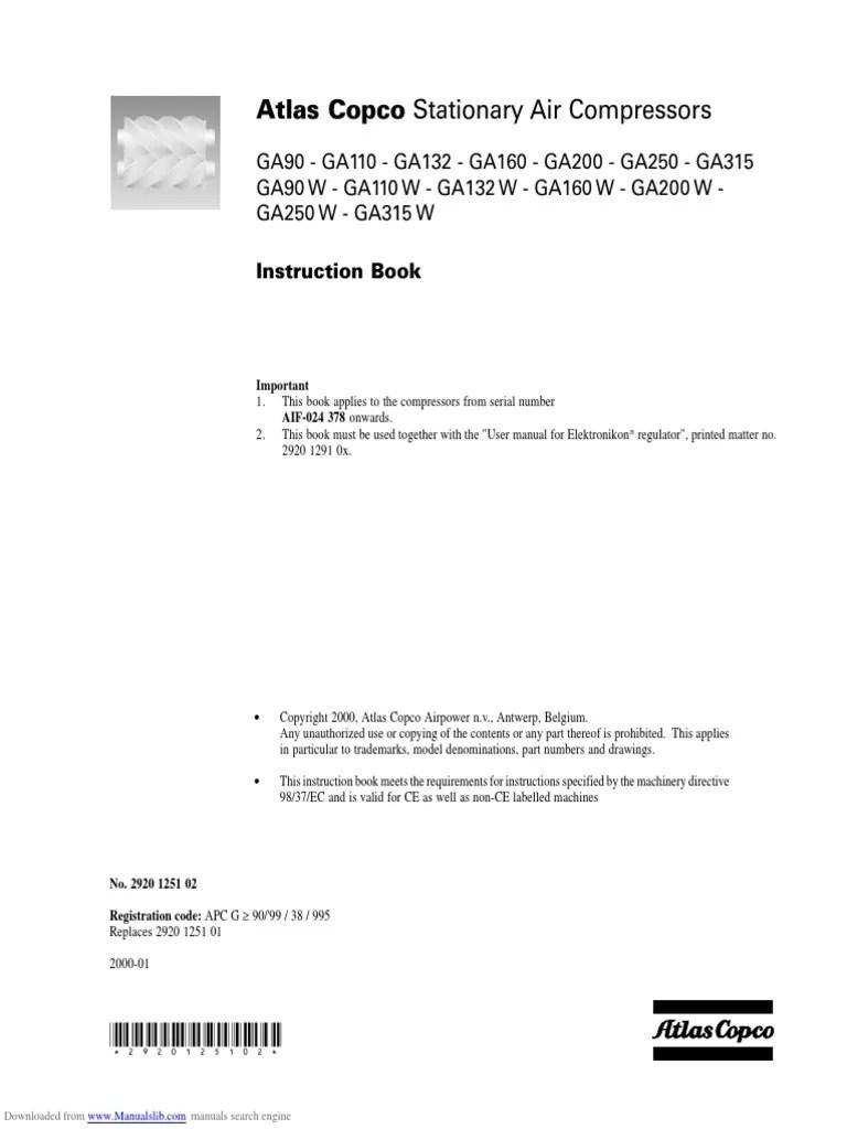 hight resolution of manual atlas copco ga90 mains electricity valveatlas copco wiring schematic 16