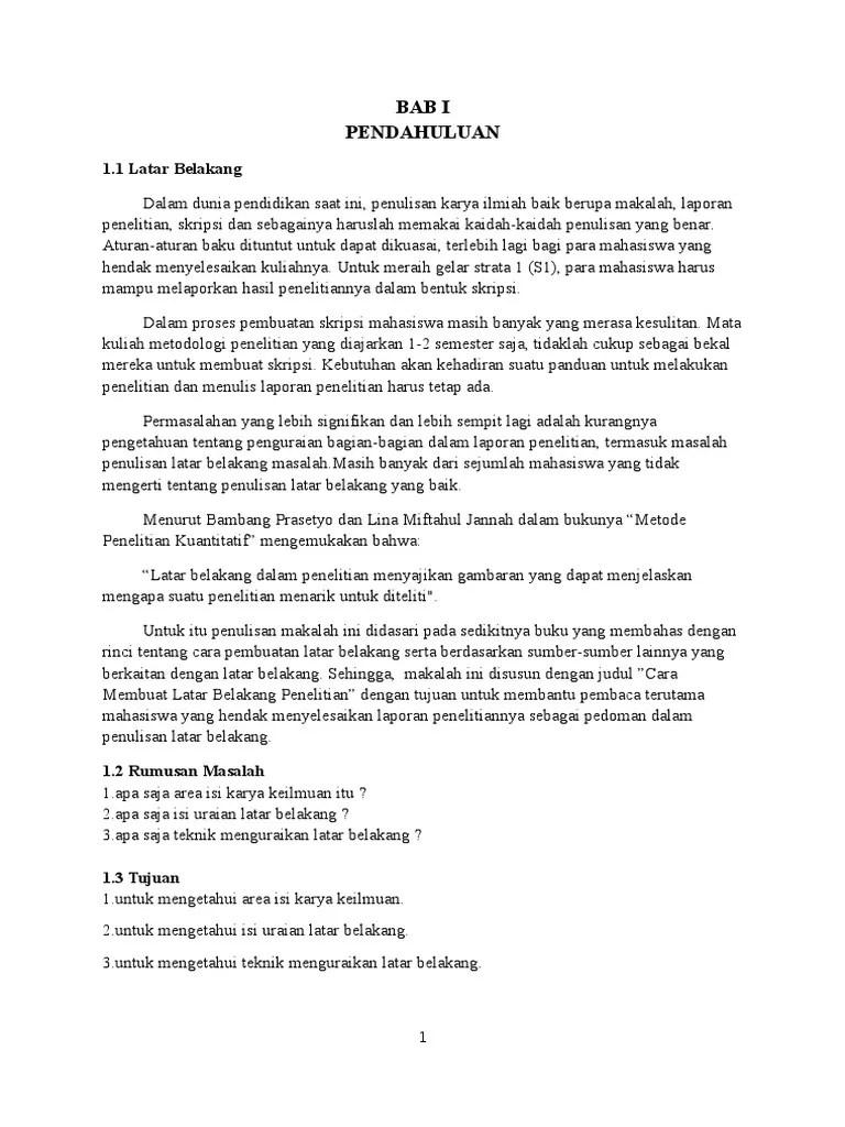 Contoh Latar Belakang Skripsi Yang Benar Kumpulan Berbagai Skripsi Cute766