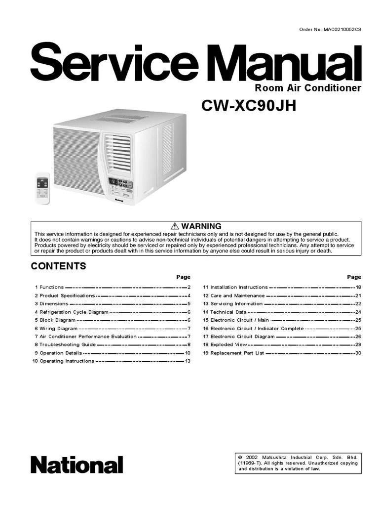 panasonic cw xc90jh service manual repair guide capacitor air conditioning [ 768 x 1024 Pixel ]