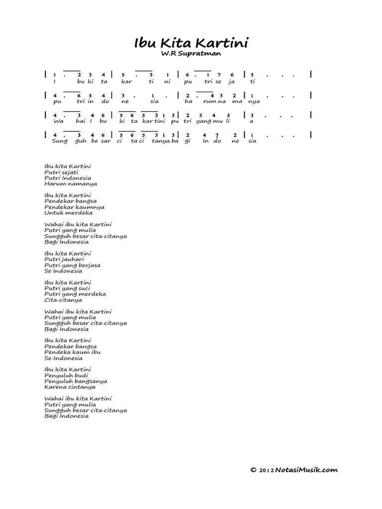 Lirik Ibu Kartini : lirik, kartini, NOTASI, ANGKA, KARTINI.pdf