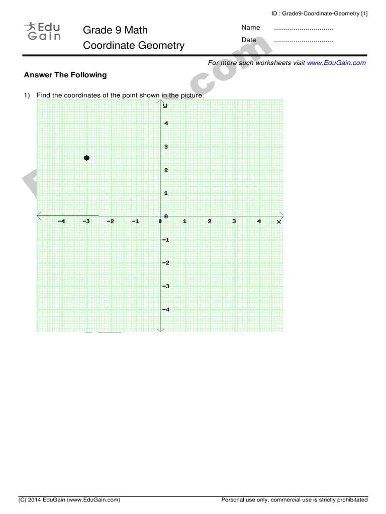 Grade 9 : Coordinate Geometry : EduGain.com   Cartesian Coordinate System    Spacetime [ 1024 x 768 Pixel ]