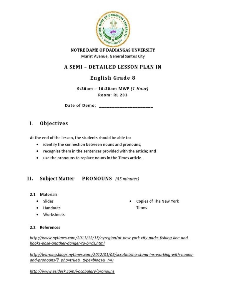 small resolution of Semi dETAILED LESSON PLAN IN eNGLISH   Grammatical Gender   Semiotics