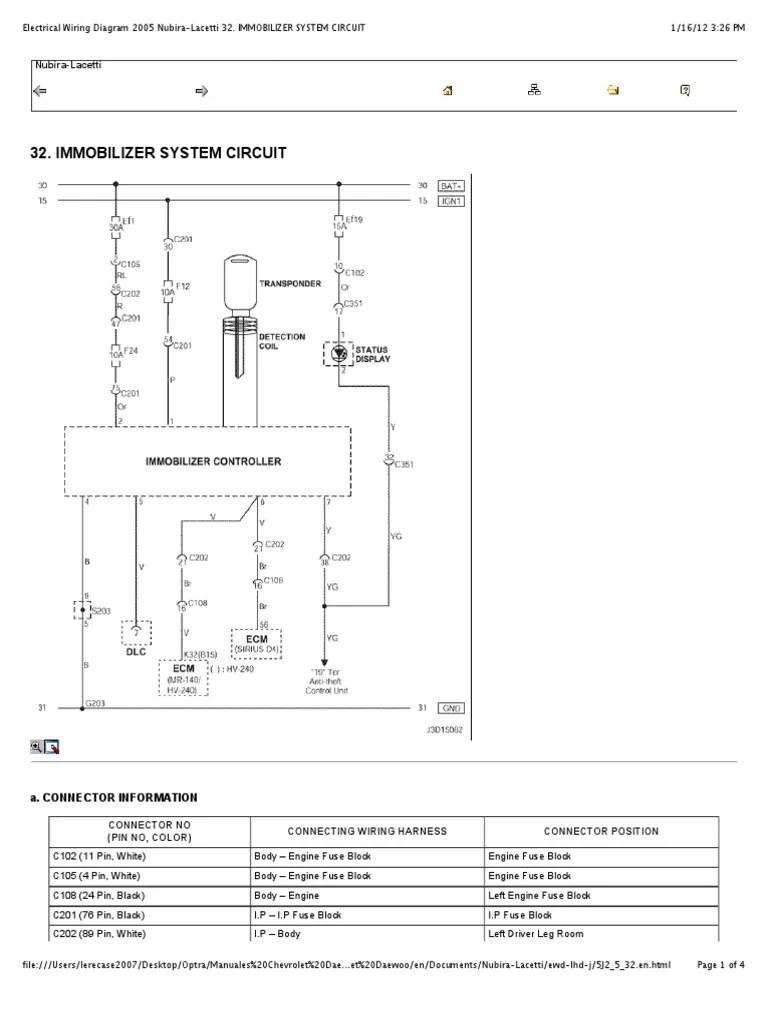 medium resolution of preview of electrical wiring diagram 2005 nubira lacetti 32 immobilizer system circuit