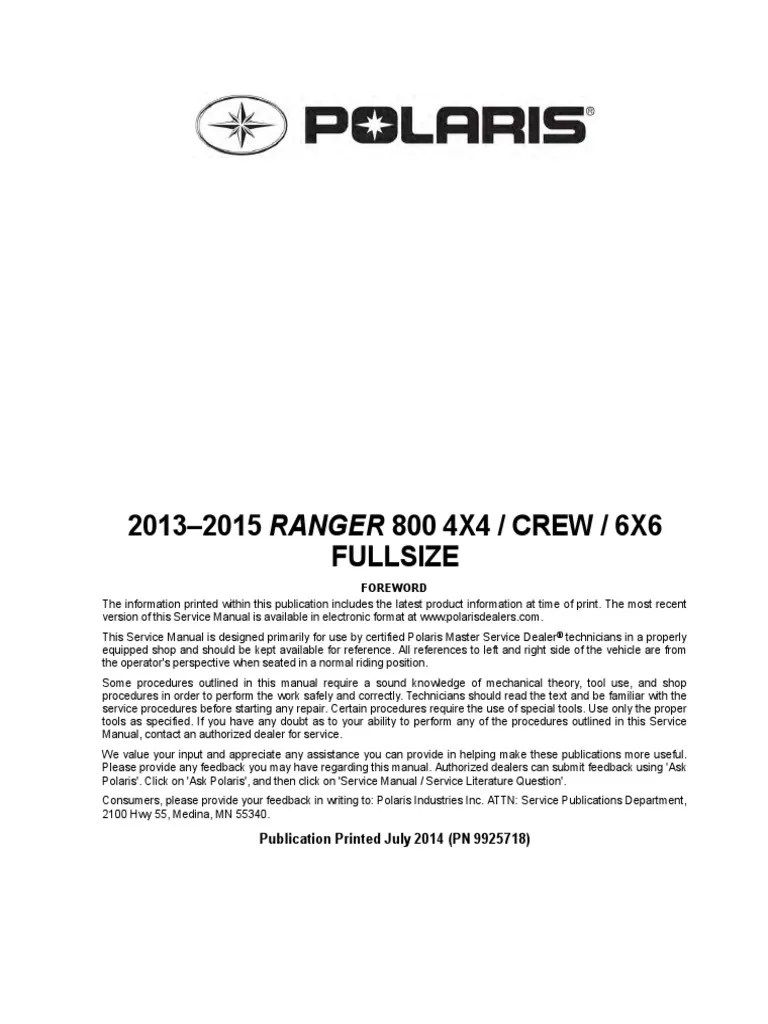small resolution of 9925718 2014 polaris ranger 6x6 service manual transmission mechanics suspension vehicle