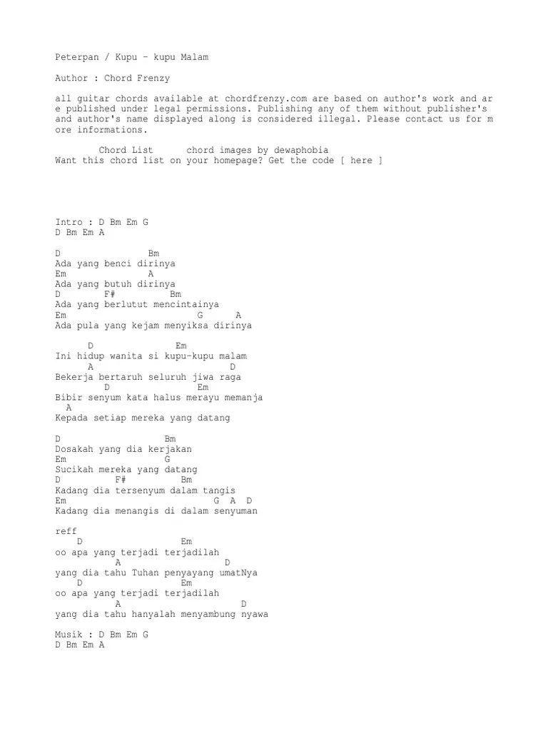 Karya Titiek Puspa, Ini Lirik dan Chord Kupu-kupu Malam
