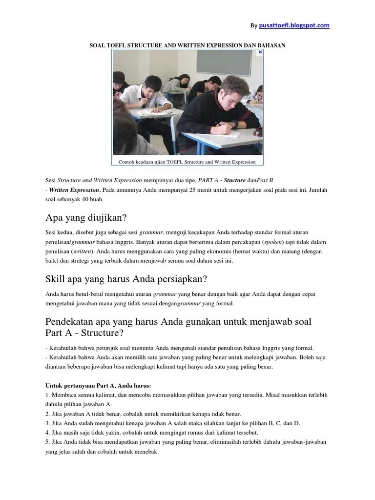 Contoh soal toefl dan pembahasannya pdf 2018 frogteddy s blog. Soal Toefl Structure And Written Expression Longman Pretest Dan Pembahasan Jawaban Bumi Atmosfer Bumi