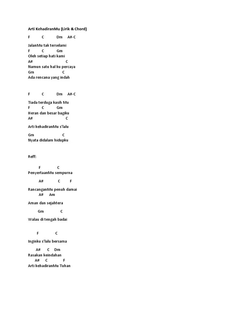 Lirik Lagu Arti Kehadiranmu : lirik, kehadiranmu, Kehadiranmu, Chord, Sedang