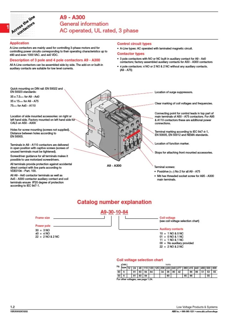 A9 30 10 coil Abb Contactor A Wiring Diagram on