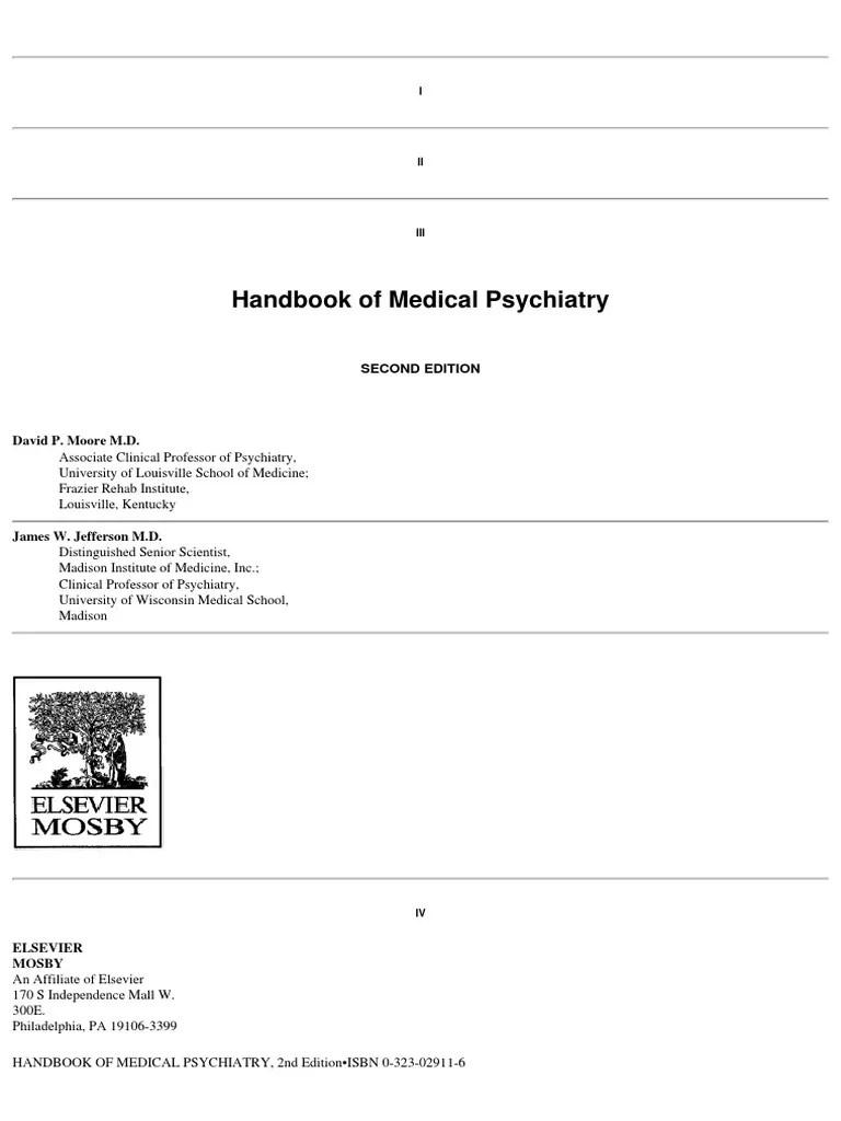 medium resolution of mosby s handbook of medical psychiatry 2nd edition 2004 mania delusion