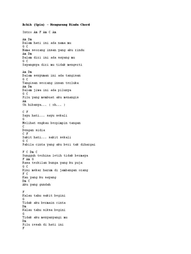 Lirik Lagu Mengusung Rindu : lirik, mengusung, rindu, Achik, (Spin), Mengusung, Rindu, Chord