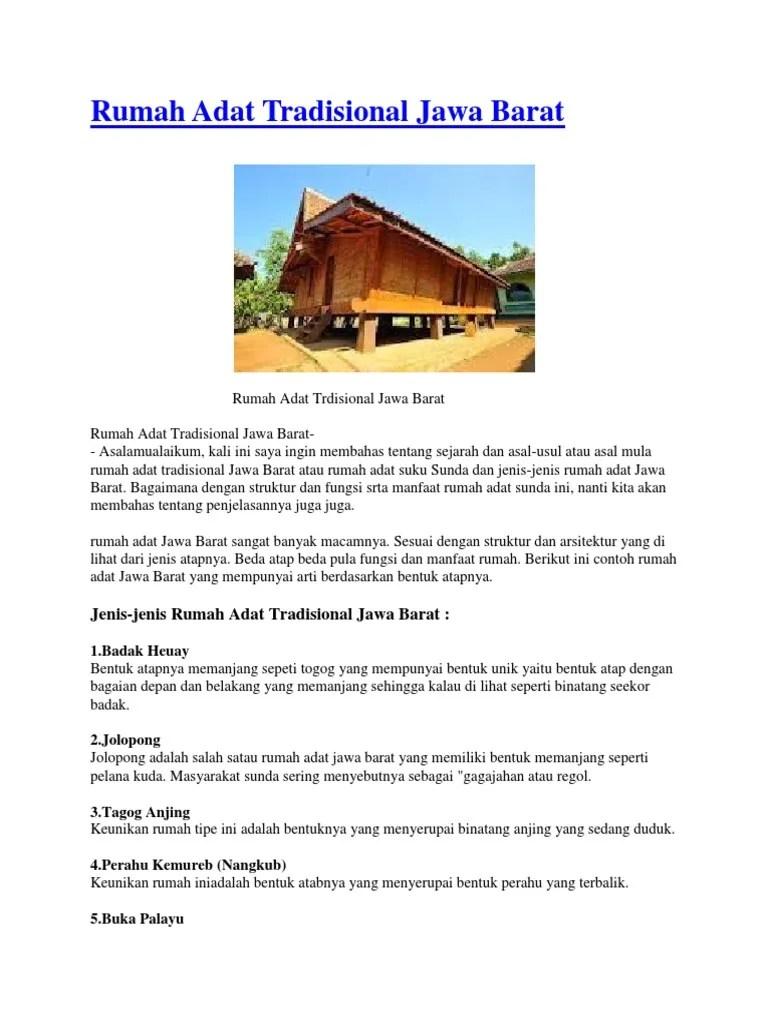 Keunikan Jawa Barat : keunikan, barat, Rumah, Tradisional, Barat