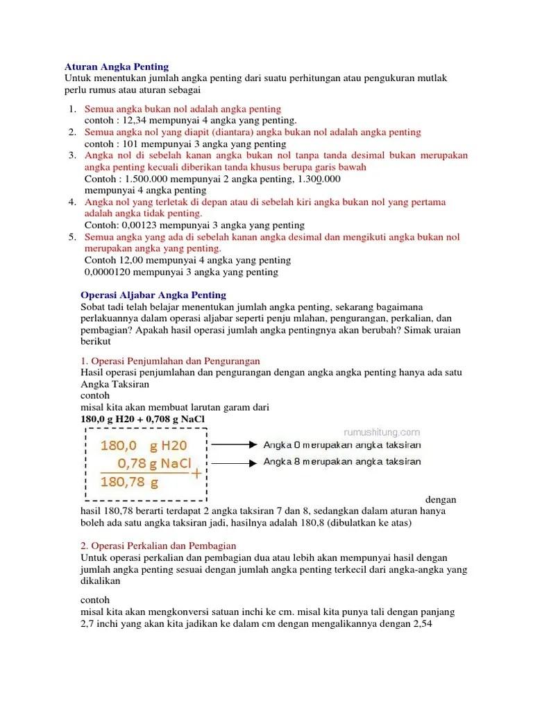 Pembagian Angka Penting : pembagian, angka, penting, Aturan, Angka, Penting