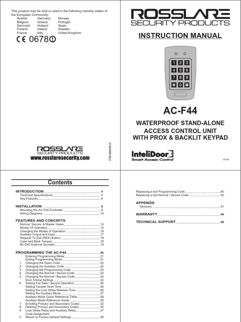 medium resolution of  pdf rosslare acf44 manual pdf power supply access control