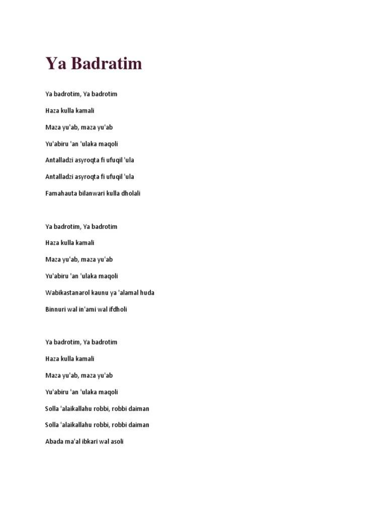 Lirik Ya Badrotim : lirik, badrotim, Badratim