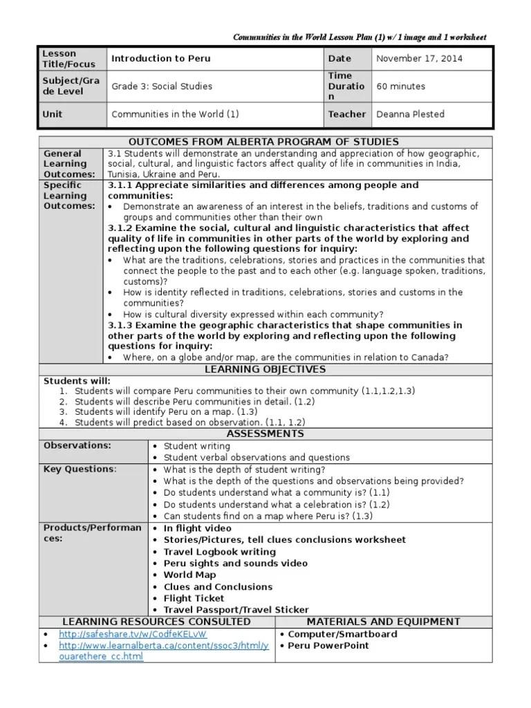 medium resolution of grade 3 intro to peru lesson plan 1 ss   Traditions   Lesson Plan