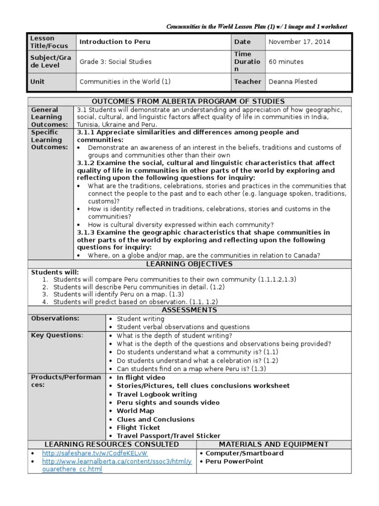 hight resolution of grade 3 intro to peru lesson plan 1 ss   Traditions   Lesson Plan