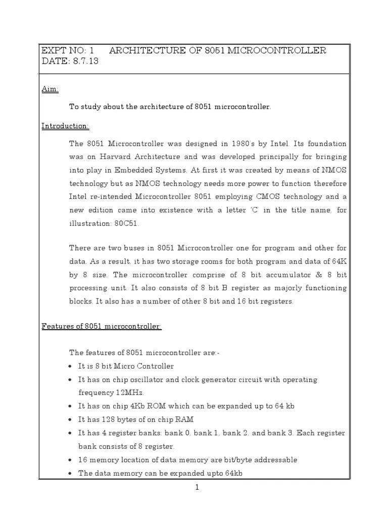 hight resolution of 1 architecture of 8051 microcontroller pdf microcontroller computer data storage