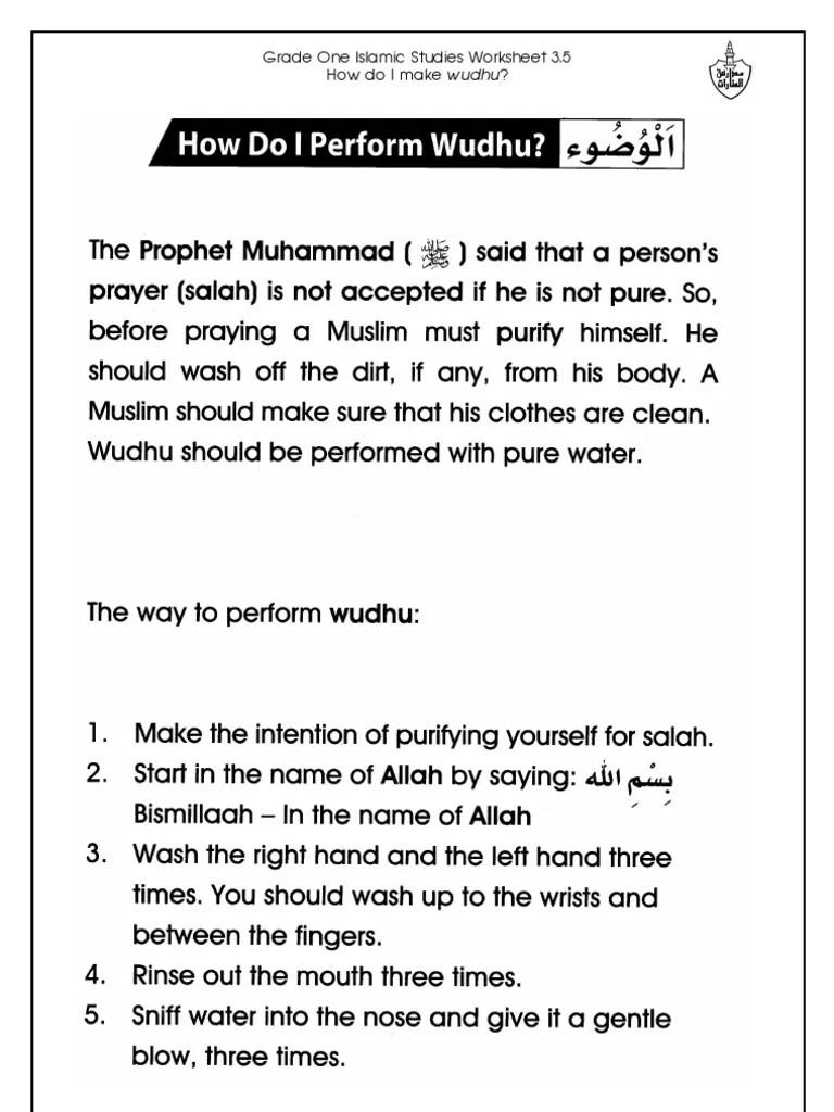 Grade 1 Islamic Studies - Worksheet 3.5 - How Do I Perform Wudhu [ 1024 x 768 Pixel ]