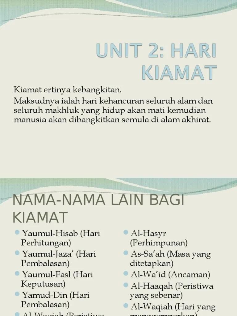 Nama2 Hari Kiamat : nama2, kiamat, Unit2hari, Kiamat