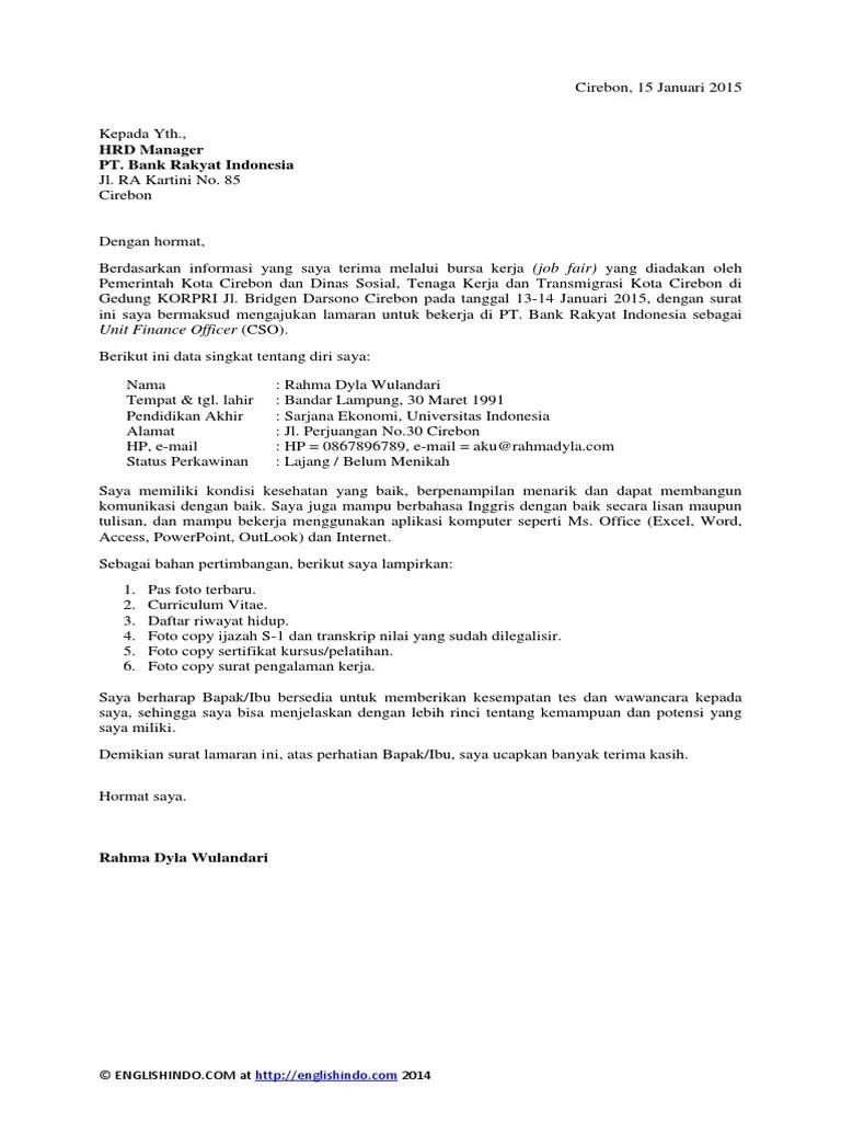Contoh Surat Lamaran Kerja Di Bank Mandiri Sebagai Teller Cute766