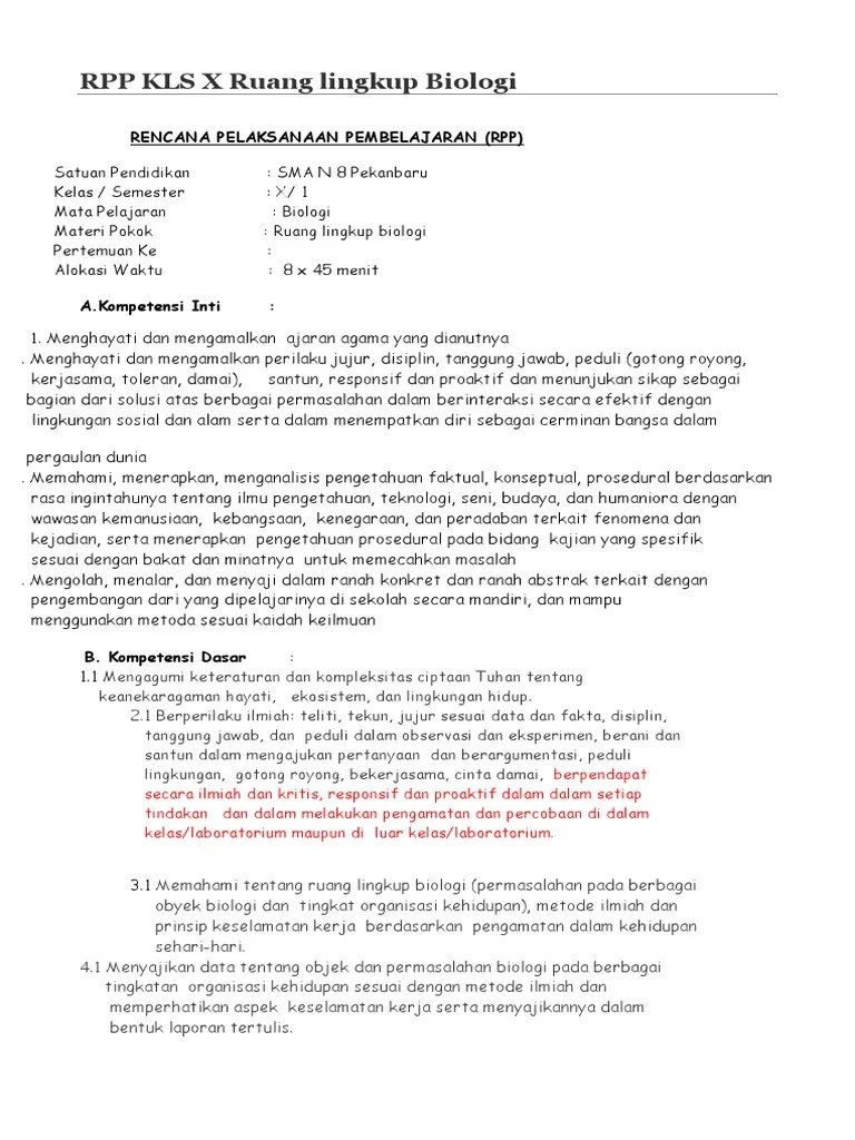 Rpp Biologi Kelas X Kurikulum 2013 Revisi 2017 : biologi, kelas, kurikulum, revisi, Kurikulum, Biologi, Kelas, Ruang, Lingkup