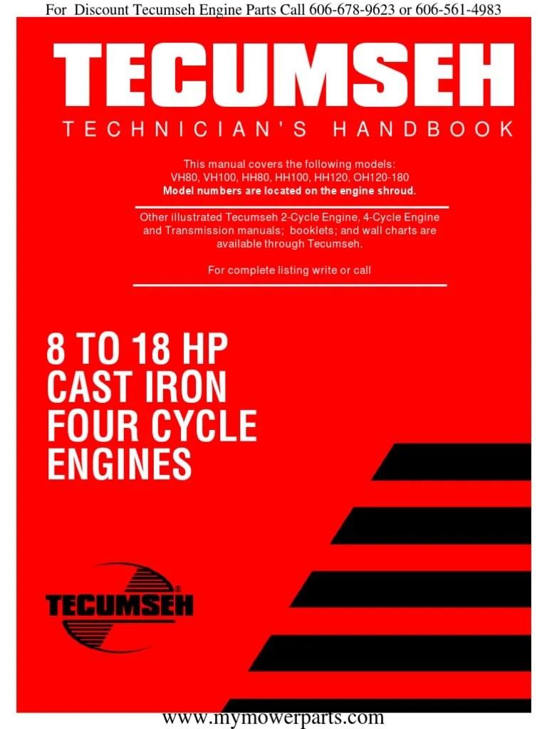 tecumseh service repair manual vh80 vh100 hh80 hh100 [ 768 x 1024 Pixel ]