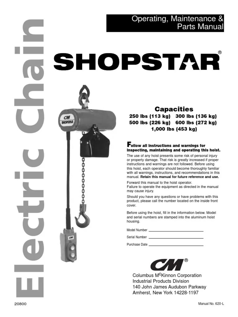 medium resolution of cm shopstar man power supply fuse electrical cm hoist wiring diagram 600 pound
