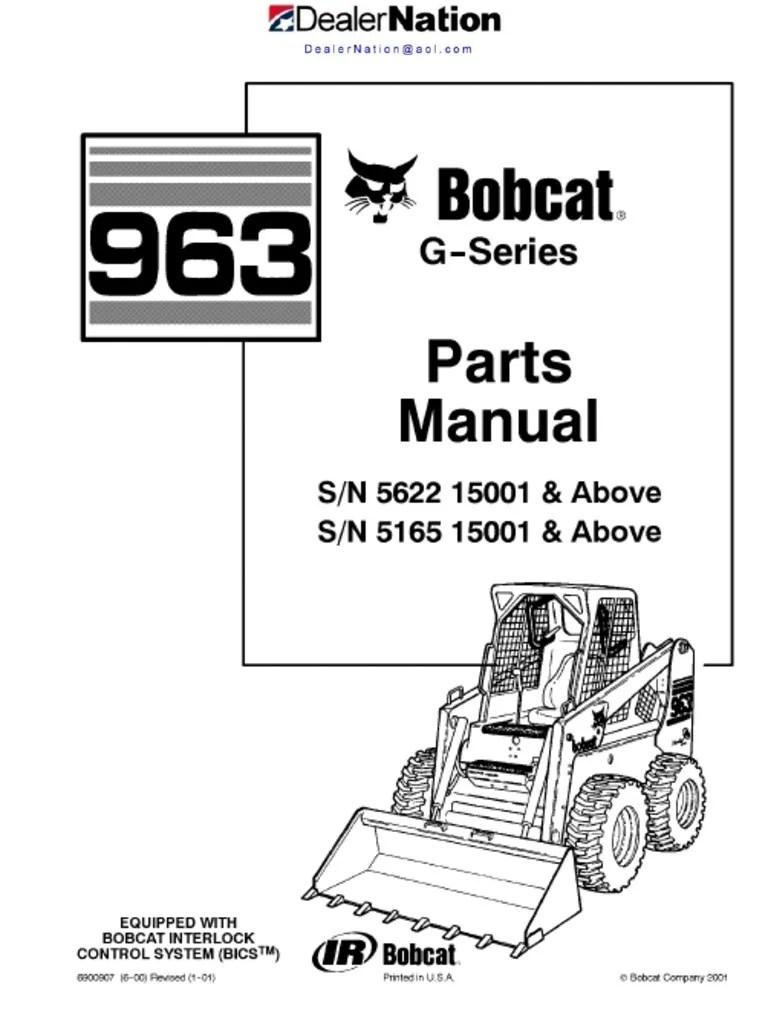 medium resolution of bobcat 963 skid steer loader master illustrated parts list manual book g series autosaved valve screw