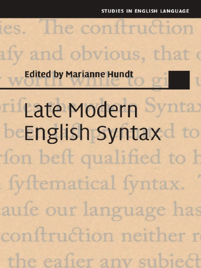 Marianne Hundt Late Modern English Syntax 2014 A Rules