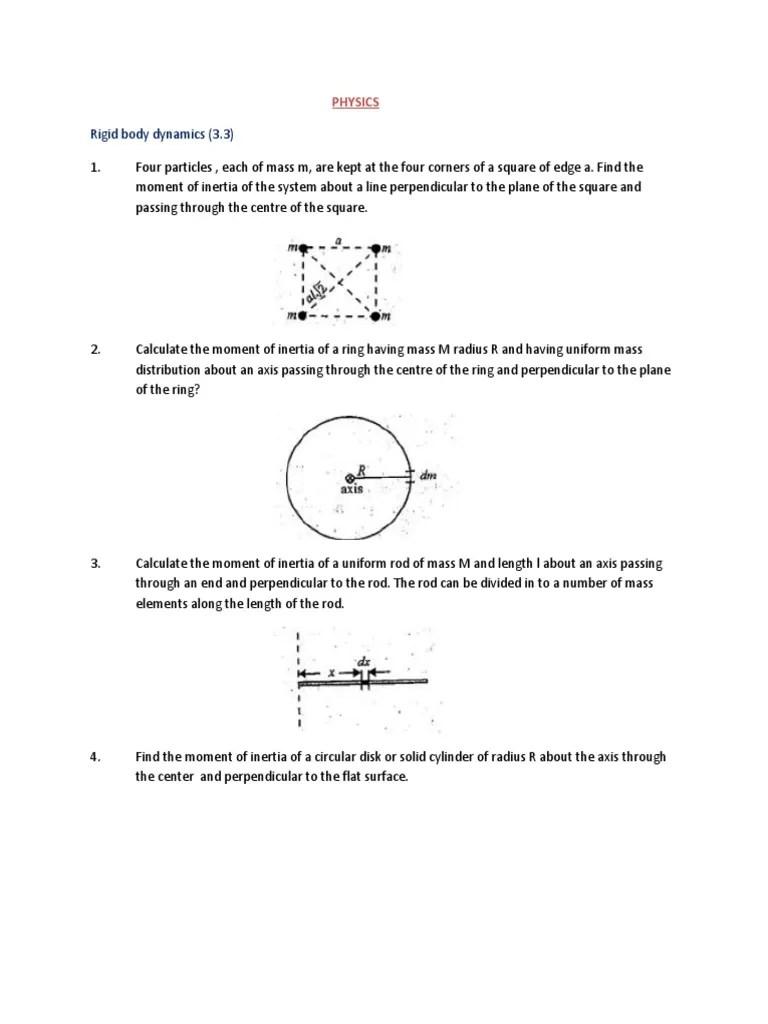 Rigid Body Dynamics Rotation Around A Fixed Axis