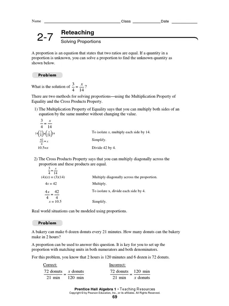 Algebra 2-7 Reteaching [ 1024 x 768 Pixel ]