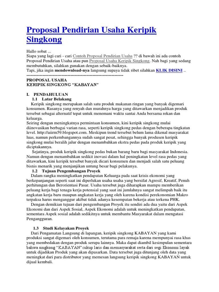 Contoh Proposal Bisnis Plan Keripik Singkong
