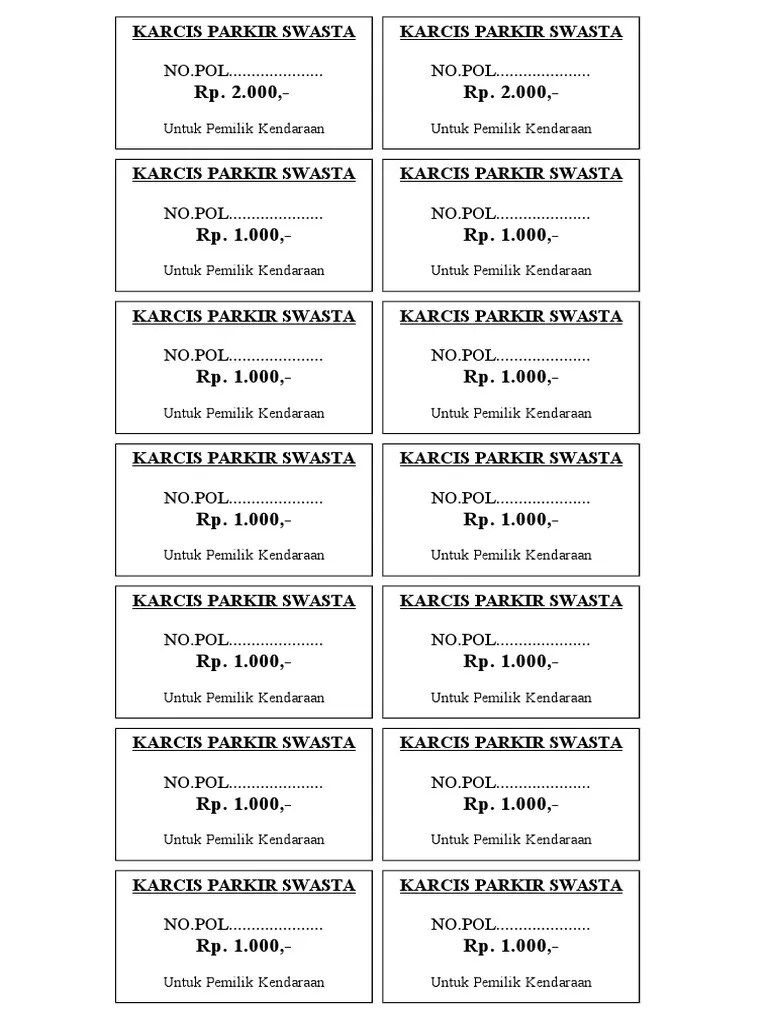 Download Karcis Parkir Word : download, karcis, parkir, Karcis, Parkir.doc