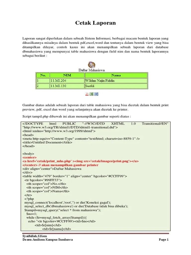 Cara Membuat Cetak Laporan Di Php : membuat, cetak, laporan, Cetak-laporan, Perangkat, Lunak, Manajemen, Basis