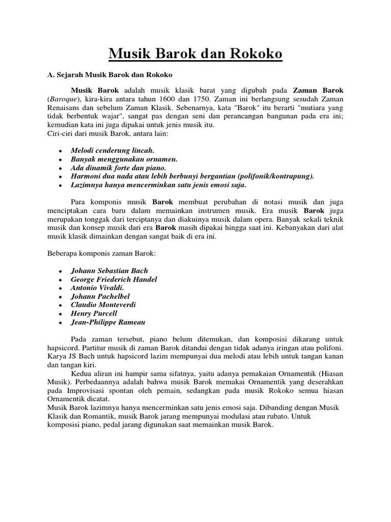 Sejarah Musik Zaman Klasik : sejarah, musik, zaman, klasik, Sejarah, Musik, Barok, Rokoko