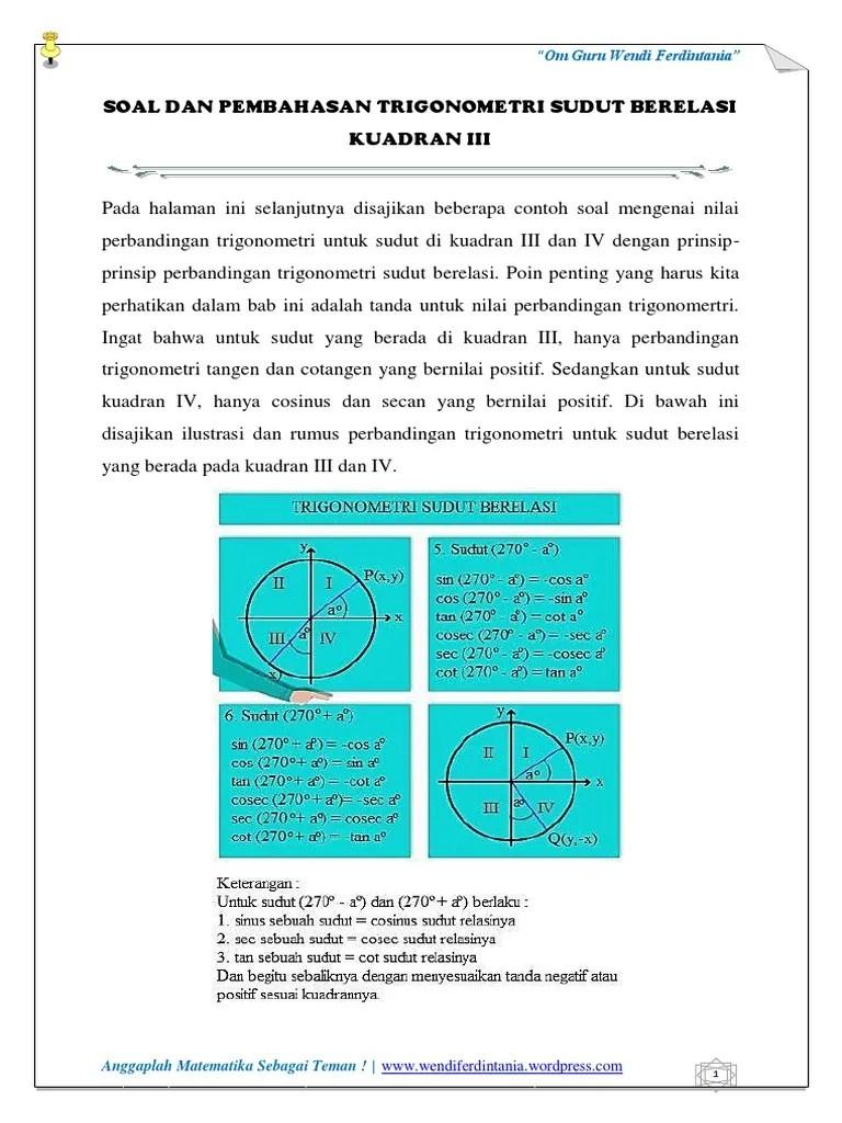 Perbandingan Trigonometri Sudut Berelasi : perbandingan, trigonometri, sudut, berelasi, Pembahasan, Trigonometri, Sudut, Berelasi, Kuadran