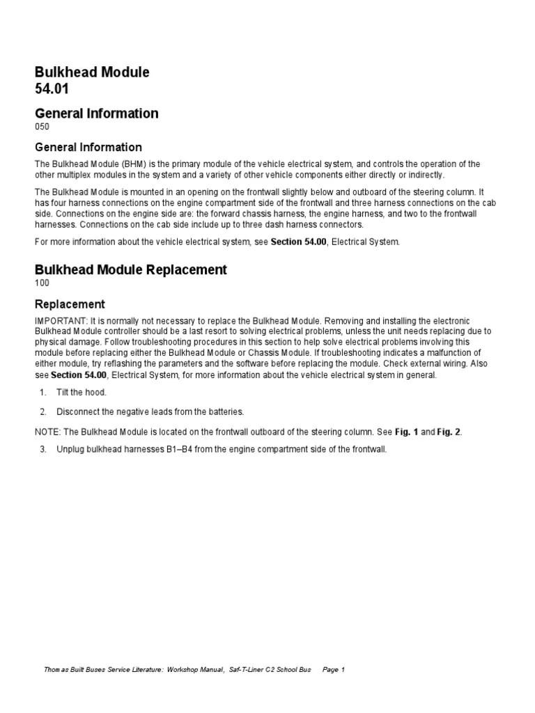 medium resolution of bulkheat modulos m2 106 school bus transmission mechanics 2007 thomas c2 brake wiring diagram