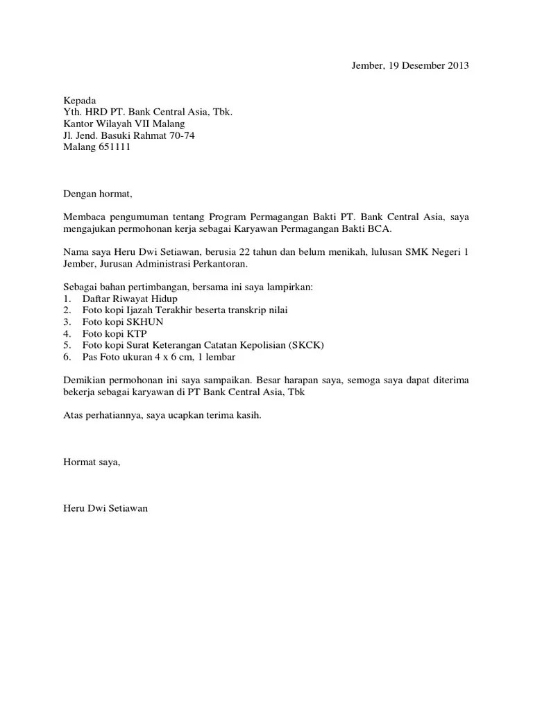 Contoh Surat Lamaran Kerja Di Bank Magang Bhakti Bca Cute766