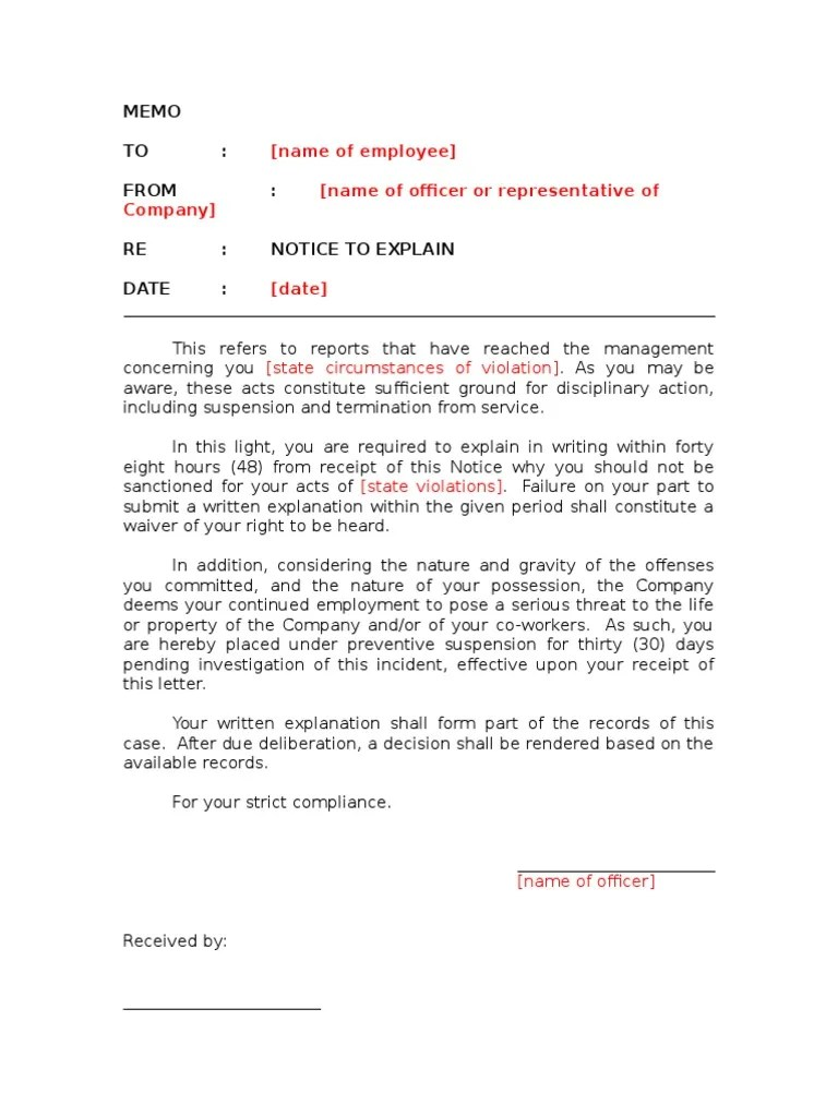 Notice to Explain Template With Preventive Suspension