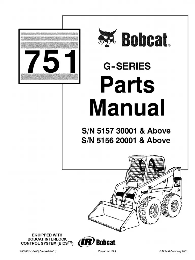 pdf bobcat 751 parts manual sn 515730001 and above sn 515620001 and above [ 768 x 1024 Pixel ]
